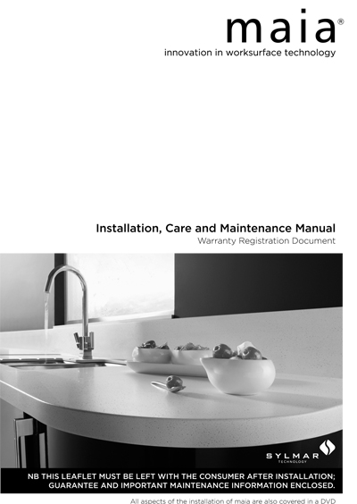 maia Installation, Care and Maintenance Manual